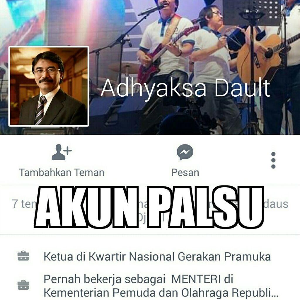 Penipu Menggunakan Nama Adhyaksa Dault di Facebook untuk Minta Dana dan Pulsa