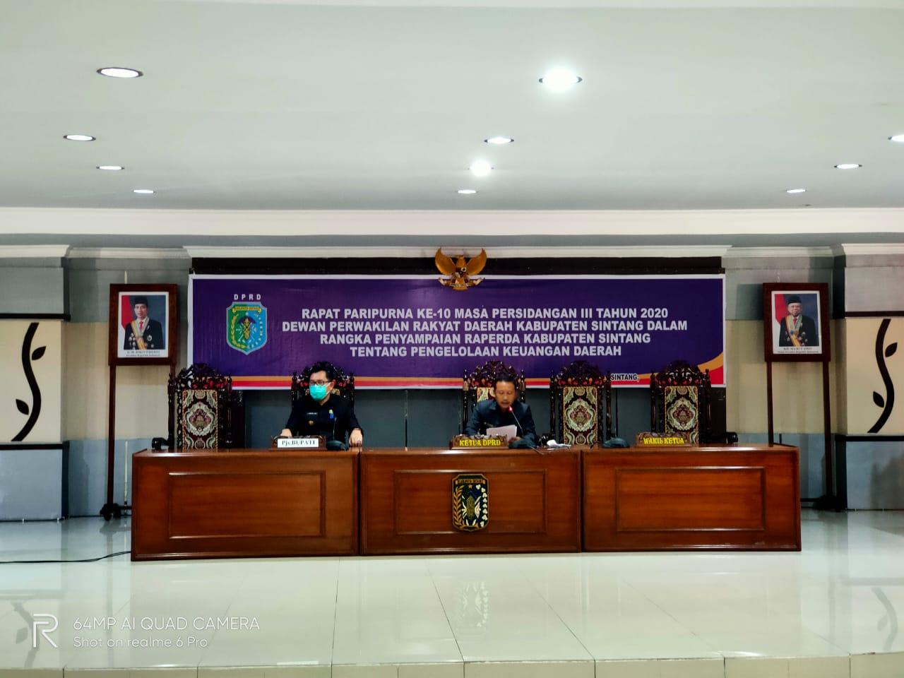 Rapat Paripurna Ke-10 DPRD Kabupaten Sintang