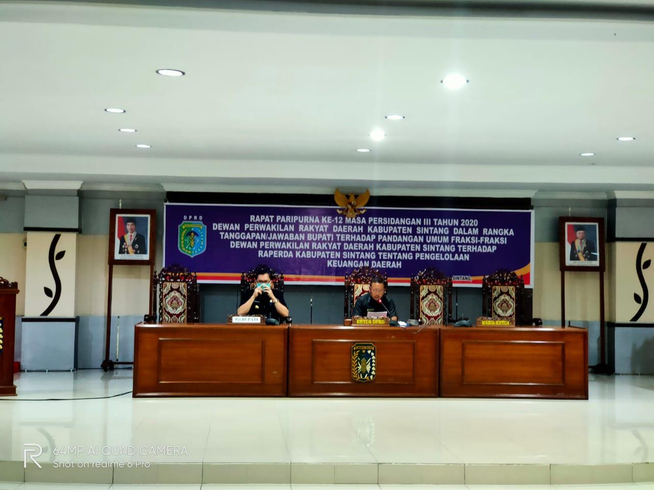 Rapat Paripurna Ke-12 DPRD Kabupaten Sintang