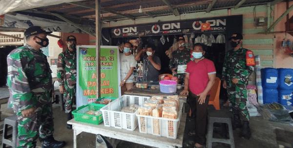 Koramil Air Besar Tegakkan Disiplin Protokol Kesehatan di Desa Serimbu