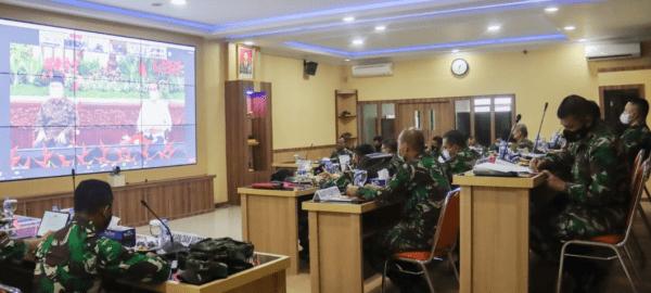 Pangdam XII/Tpr Ikuti Rakornas Penanggulangan Bencana Tahun 2021 Secara Virtual