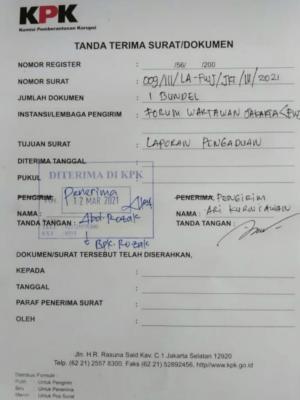 Oknum Pejabat Kota Depok Dilaporkan FWJ ke KPK
