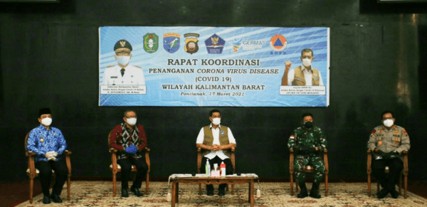 Dipimpin Kepala BNPB, Pangdam XII/Tpr dan Forkopimda Ikuti Rakor Penanganan Covid-19 di Kalbar