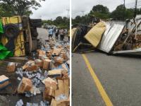 Laka Lantas Kembali Terjadi Mobil Box vs Mobil Angkut Air Mineral