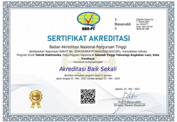 """Prodi D3 Teknik Elektronika STTAL Mendapatkan Peringkat Akreditasi """"Baik Sekali"""" dari BAN-PT"""