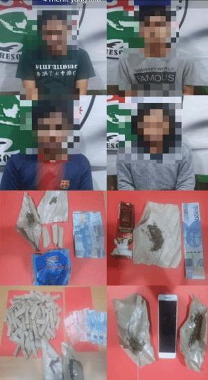 Diduga Pengedar Narkotika Jenis Ganja 4 Pemuda Diamankan Satresnarkoba Polres Kubu Raya