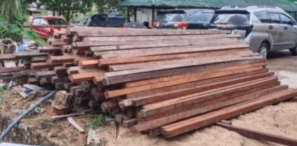 Direktorat Reserse Kriminal Khusus (Ditreskrimkus) Polda tangkap kayu Belian ratusan batang, beberapa Minggu lalu