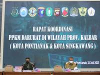 Pangdam XII/Tpr dan Forkopimda Gelar Rakor Pelaksanaan PPKM Darurat Di Wilayah Prov Kalbar dan Kalteng